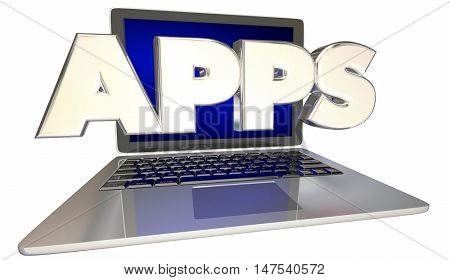 Apps Compter Laptop Application Software 3d Illustration