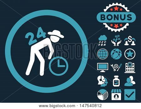 Around the Clock Work icon with bonus design elements. Vector illustration style is flat iconic bicolor symbols, blue and white colors, dark blue background.