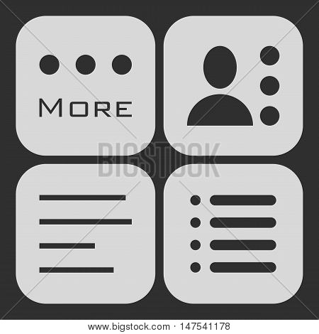 Hamburger menu icons set. Vector white symbols collection on black background.