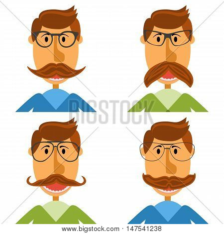 Hipster nerd with glasses and stylish mustache set isolated on white. Web Banner Vector Flat Design. Hipster creative design template illustration