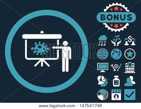 Bacteria Lecture icon with bonus design elements. Vector illustration style is flat iconic bicolor symbols, blue and white colors, dark blue background.