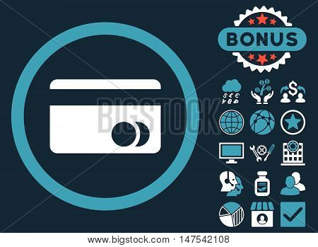 Banking Card icon with bonus pictogram. Vector illustration style is flat iconic bicolor symbols, blue and white colors, dark blue background.