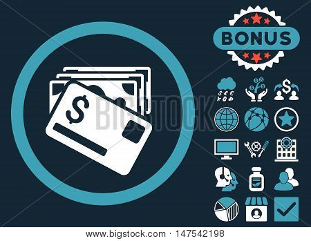 Banknotes and Card icon with bonus elements. Vector illustration style is flat iconic bicolor symbols, blue and white colors, dark blue background.