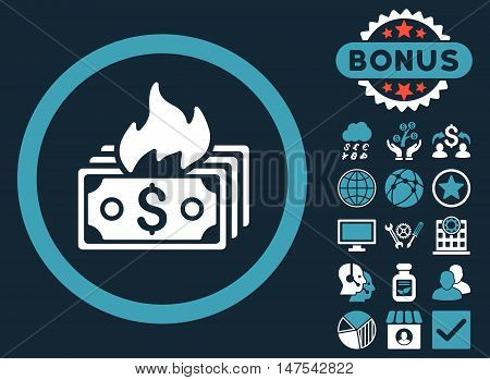 Burn Banknotes icon with bonus pictures. Vector illustration style is flat iconic bicolor symbols, blue and white colors, dark blue background.