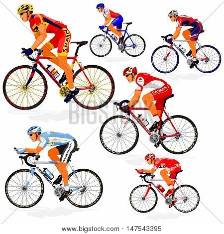 National Cyclist  of Argentina,Canada,France,Korea,Spain,Switzerland on transparent background