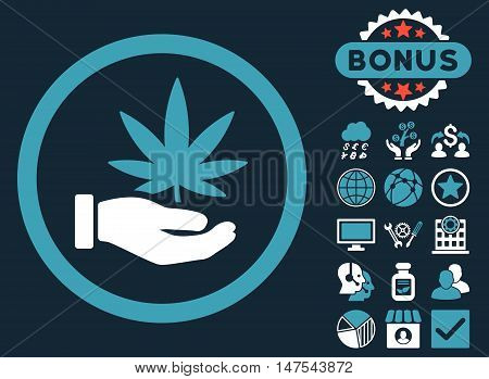 Cannabis Offer Hand icon with bonus images. Vector illustration style is flat iconic bicolor symbols, blue and white colors, dark blue background.