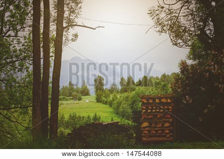 Summer Landscape With Huts