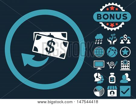 Cashback icon with bonus design elements. Vector illustration style is flat iconic bicolor symbols, blue and white colors, dark blue background.
