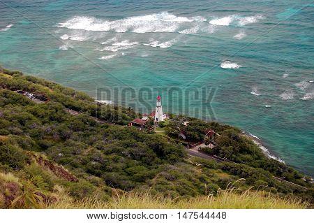 view of Diamond Head Lighthouse, Honolulu, Oahu, Hawaii