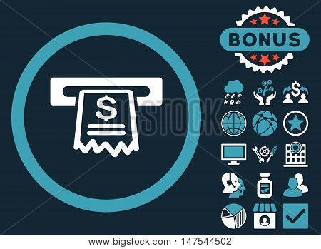 Cashier Receipt icon with bonus pictures. Vector illustration style is flat iconic bicolor symbols, blue and white colors, dark blue background.