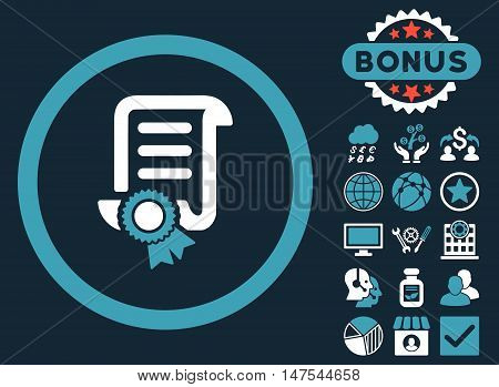 Certified Scroll Document icon with bonus images. Vector illustration style is flat iconic bicolor symbols, blue and white colors, dark blue background.