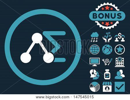 Chemical Formula icon with bonus symbols. Vector illustration style is flat iconic bicolor symbols, blue and white colors, dark blue background.