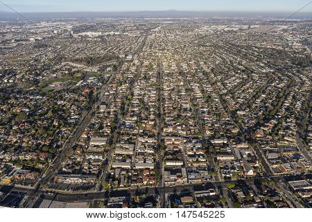 Los Angeles, California, USA - August 16, 2016:  Aerial view of South Bay neighborhoods in Los Angeles County, California.