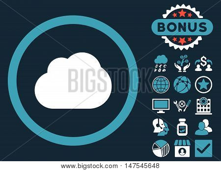 Cloud icon with bonus pictogram. Vector illustration style is flat iconic bicolor symbols, blue and white colors, dark blue background.