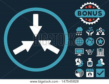 Collide Arrows icon with bonus symbols. Vector illustration style is flat iconic bicolor symbols, blue and white colors, dark blue background.