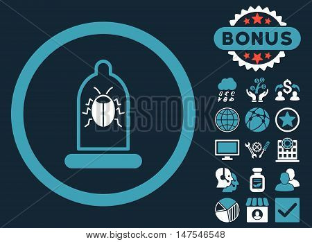 Condom Bug icon with bonus elements. Vector illustration style is flat iconic bicolor symbols, blue and white colors, dark blue background.