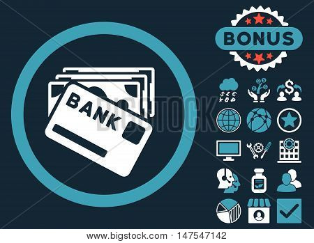 Credit Money icon with bonus elements. Vector illustration style is flat iconic bicolor symbols, blue and white colors, dark blue background.
