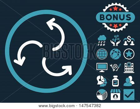 Cyclone Arrows icon with bonus pictogram. Vector illustration style is flat iconic bicolor symbols, blue and white colors, dark blue background.