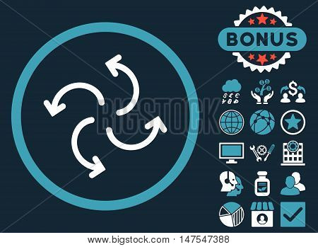 Cyclone Arrows icon with bonus design elements. Vector illustration style is flat iconic bicolor symbols, blue and white colors, dark blue background.