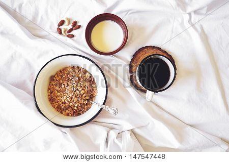 Breakfast In Bed Top View