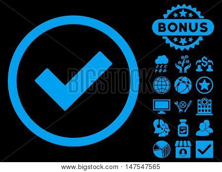 Accept icon with bonus design elements. Vector illustration style is flat iconic symbols, blue color, black background.
