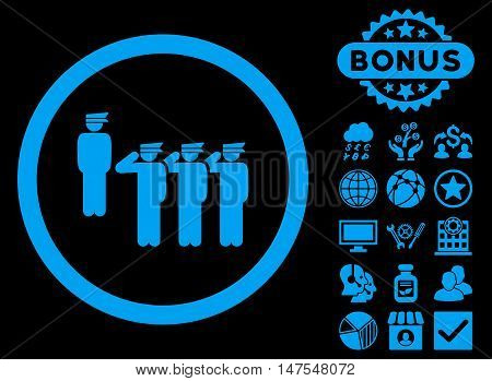 Army Squad icon with bonus design elements. Vector illustration style is flat iconic symbols, blue color, black background.
