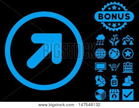 Arrow Up Right icon with bonus pictogram. Vector illustration style is flat iconic symbols, blue color, black background.