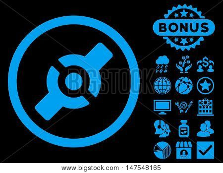 Artificial Joint icon with bonus symbols. Vector illustration style is flat iconic symbols, blue color, black background.