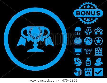 Award Cup icon with bonus symbols. Vector illustration style is flat iconic symbols, blue color, black background.