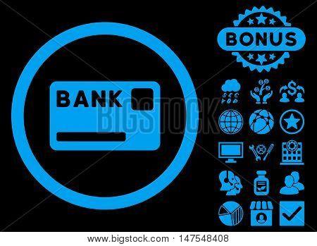 Bank Card icon with bonus design elements. Vector illustration style is flat iconic symbols, blue color, black background.