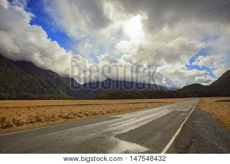 landscape of knobs flat important beautiful destination of road to milford sound fiordland national park new zealand