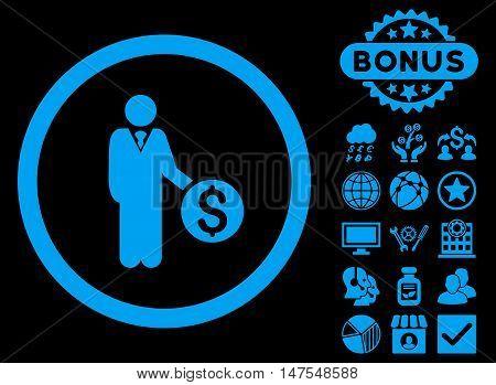 Banker icon with bonus symbols. Vector illustration style is flat iconic symbols, blue color, black background.
