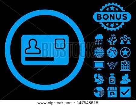 Banking Card icon with bonus design elements. Vector illustration style is flat iconic symbols, blue color, black background.