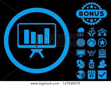 Bar Chart Monitoring icon with bonus images. Vector illustration style is flat iconic symbols, blue color, black background.