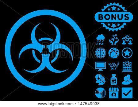 Biohazard Symbol icon with bonus images. Vector illustration style is flat iconic symbols, blue color, black background.