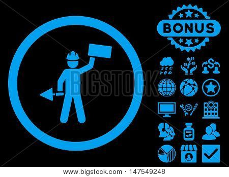 Builder With Shovel icon with bonus symbols. Vector illustration style is flat iconic symbols, blue color, black background.