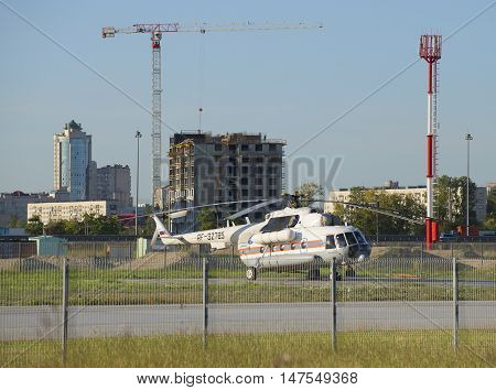 SAINT PETERSBURG, RUSSIA - SEPTEMBER 11, 2015: Helicopter Mi-8 MTV-1 (RF-32785) FGUAP MCHS Rossii parked at the club