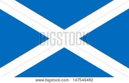 Flag of Scotland in correct size proportions and colors. Accurate official standard dimensions. Scottish national flag. United Kingdom patriotic symbol. UK banner. British background design. Vector
