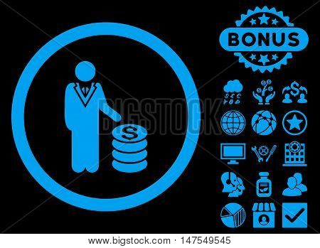 Businessman icon with bonus images. Vector illustration style is flat iconic symbols, blue color, black background.