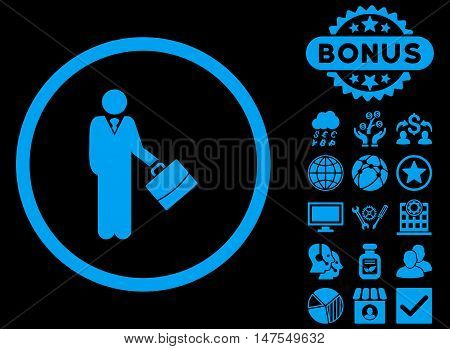 Businessman icon with bonus symbols. Vector illustration style is flat iconic symbols, blue color, black background.