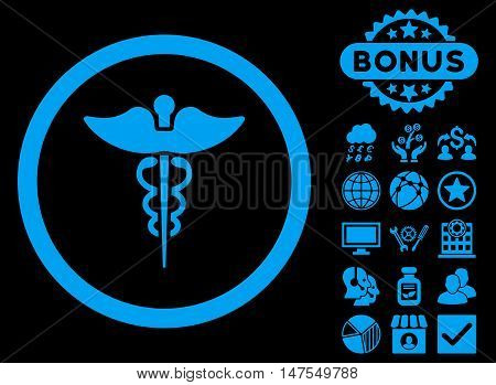 Caduceus icon with bonus pictogram. Vector illustration style is flat iconic symbols, blue color, black background.