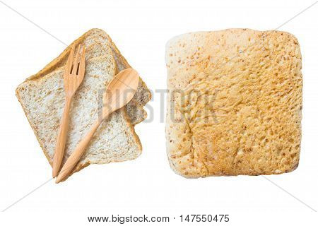 bread and wood spoon isolated on white background / copy space / top view. clipping path included