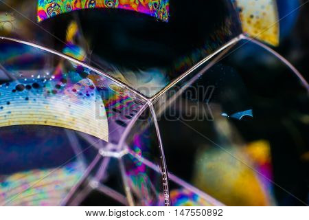 Rainbow colors created by soap, bubble or oil for abstract background.