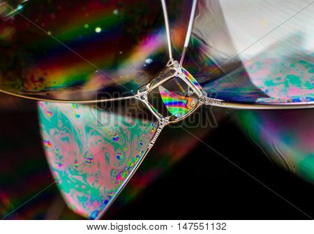 Rainbow colors created by soap bubble or oil for abstract background