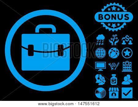 Case icon with bonus symbols. Vector illustration style is flat iconic symbols, blue color, black background.