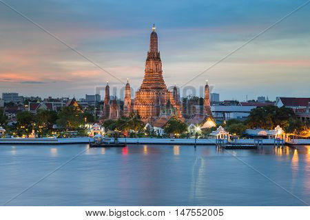 Arun temple river front with beautiful sky background, Bangkok Thailand Landmark