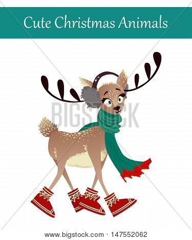 Cute Merry Christmas Animal Illustration. Festive Cold Holidays Theme. Colorful Deer Wearing Warm Winter Clothes: Warm Headphones, Scarf and Boots