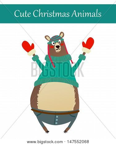 Cute Merry Christmas Animal Illustration. Festive Cold Holidays Theme. Colorful Bear Wearing Warm Winter Clothes: Hat, Sweater, Gloves and Jeans