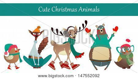 Cute Merry Christmas Animal Set: Birds, Bear, Deer, Cat. Colorful Animals Wearing Warm Winter Clothes Like Gloves, Sweaters, Hats, Boots and Scarf
