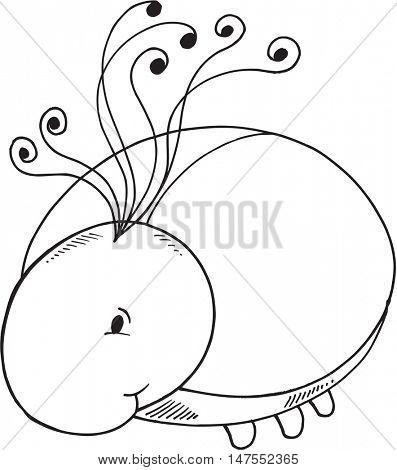 Cute Ladybug Doodle Vector Illustration Art